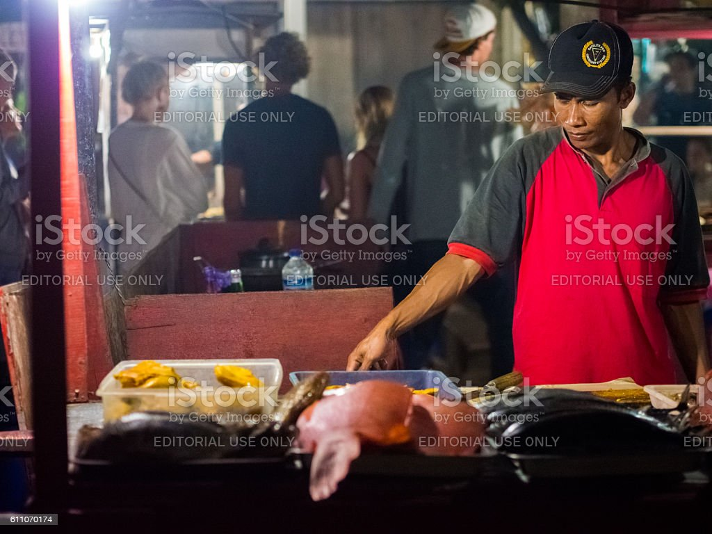 Night Market in the Gili Islands in Lombok, Indonesia stock photo