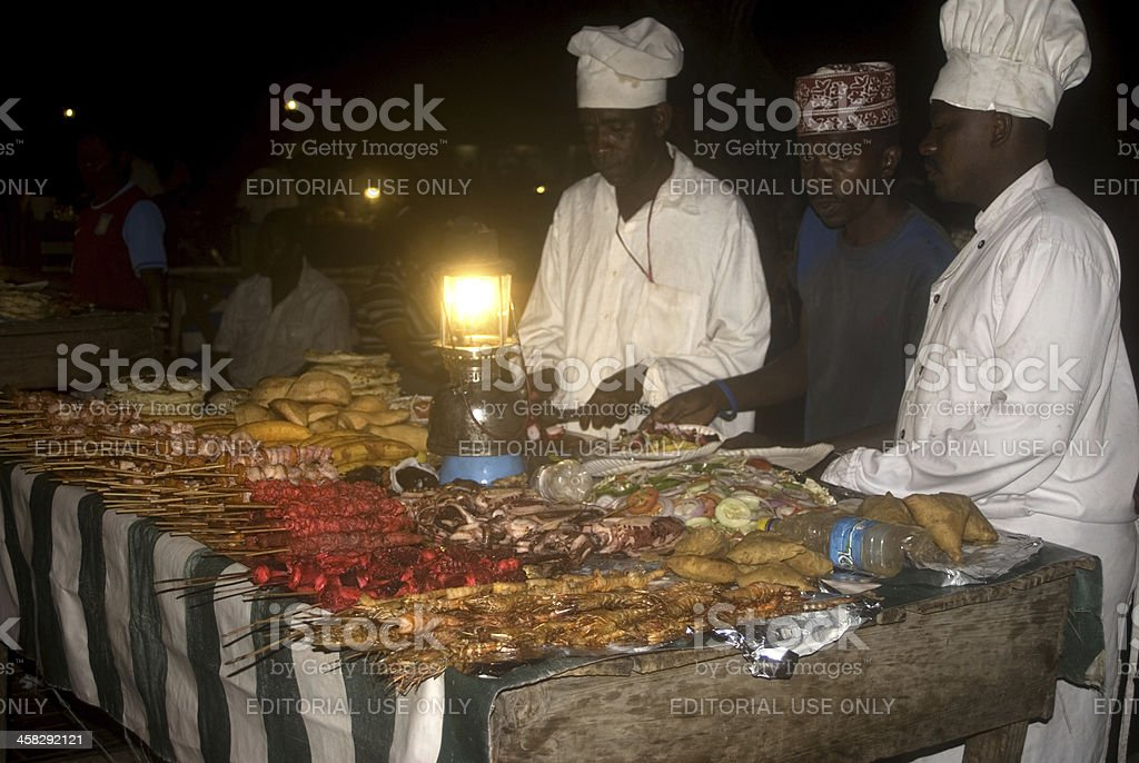 Night market, Stone Town, Zanzibar, Tanzania royalty-free stock photo