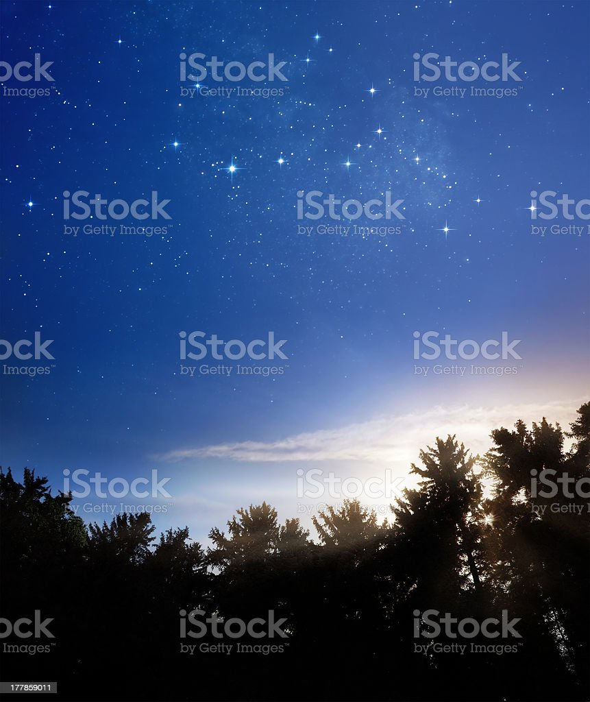 Night meets day stock photo
