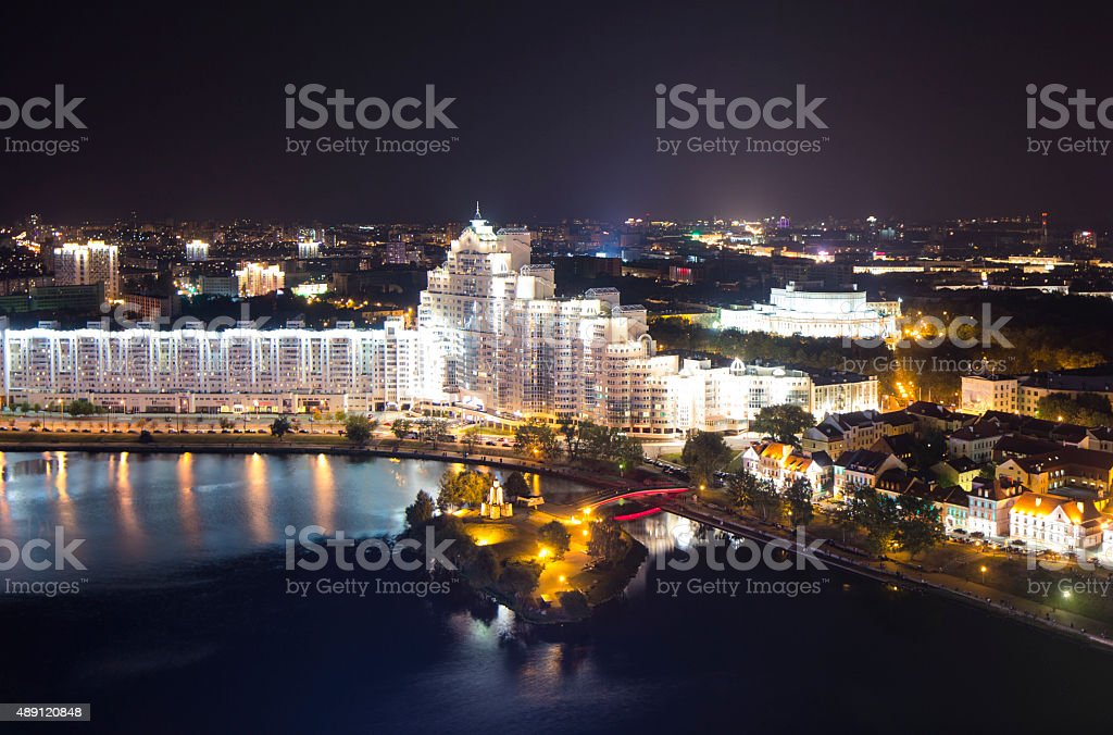 Night Minsk from above long exposure stock photo
