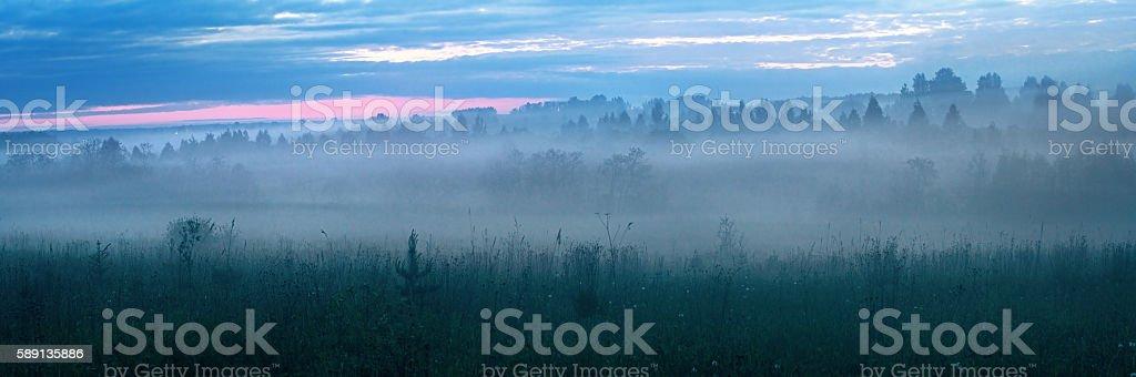 Night mist on flood plains near the river. stock photo