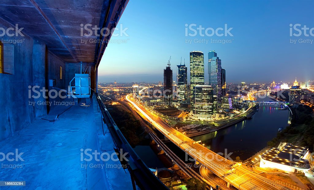 Night Moscow panorama royalty-free stock photo