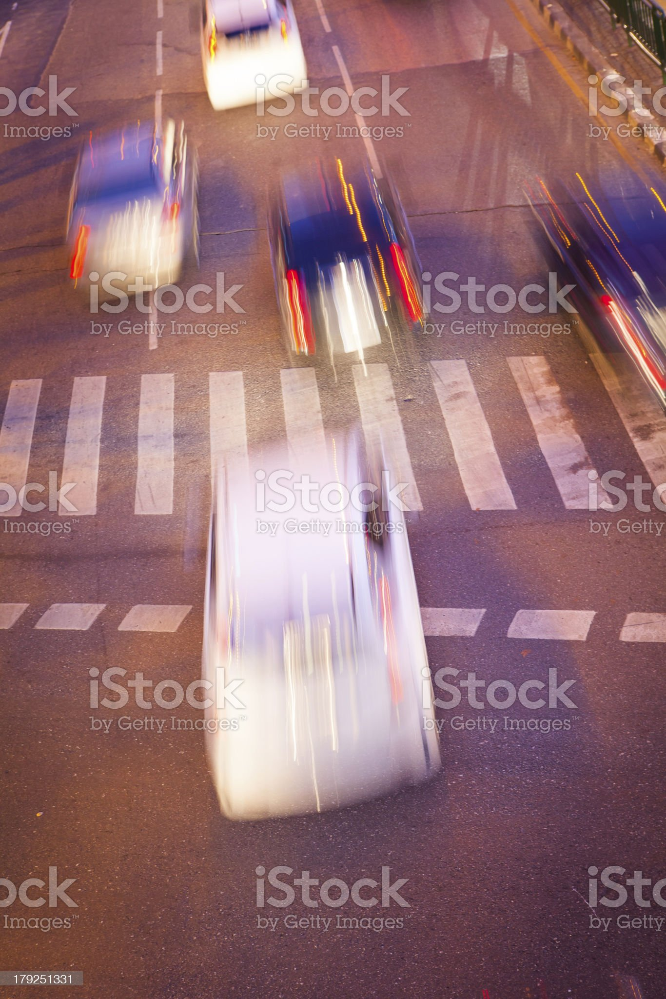 Night Motion Blur of Fast Cars traffic on road royalty-free stock photo