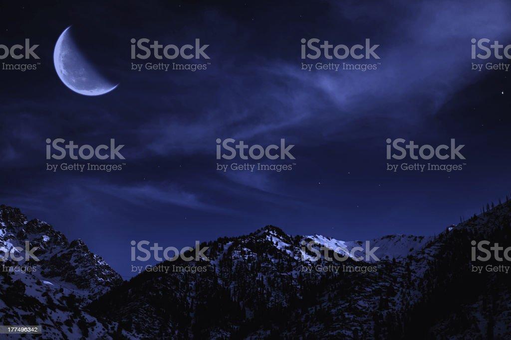 Night mountain winter landscape royalty-free stock photo