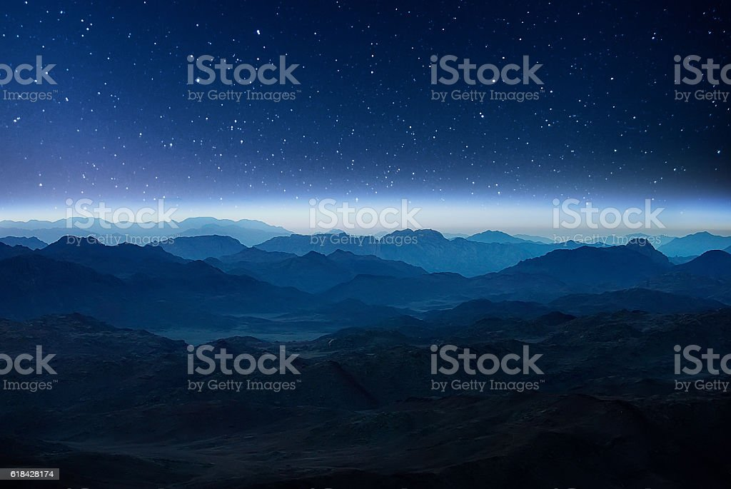 Night mountains before sunrise in the Egypt. stock photo