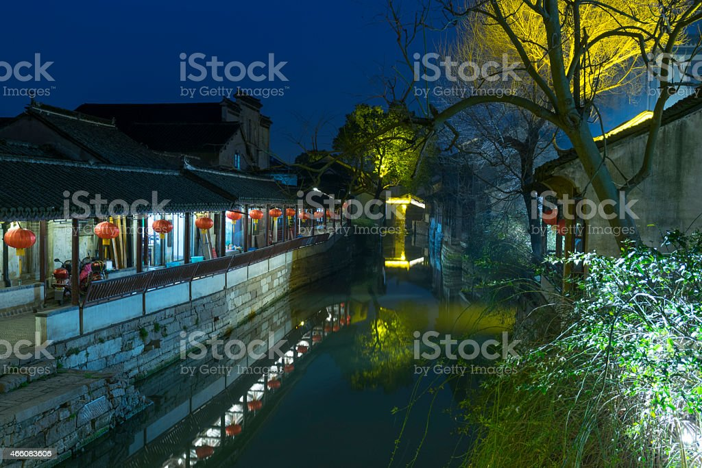 Night of a small water town of Shangha China stock photo