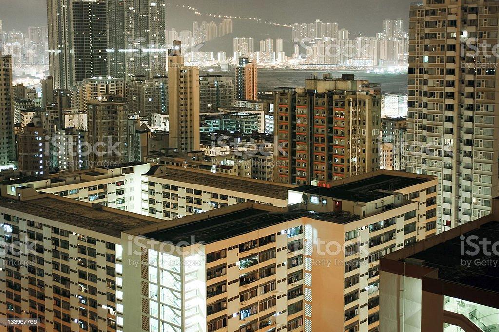 Noche de Hong Kong residentes foto de stock libre de derechos
