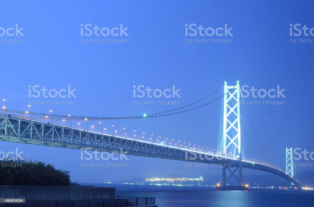 Night of the Akashi Kaikyo Bridge stock photo