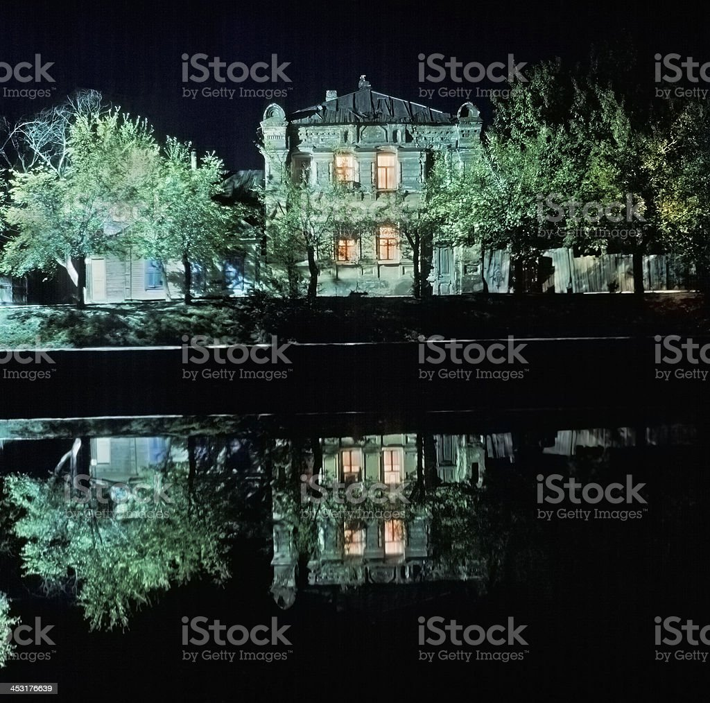 Night.  Old house . royalty-free stock photo