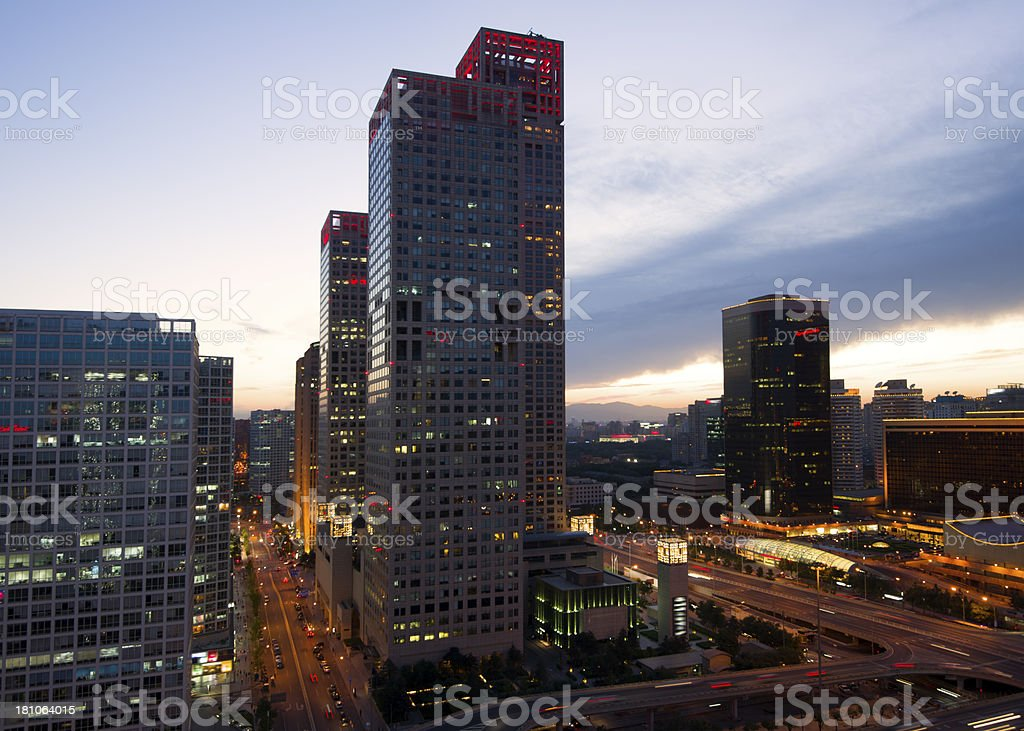 Night on Beijing Central Business district buildings skyline, China cityscape royalty-free stock photo