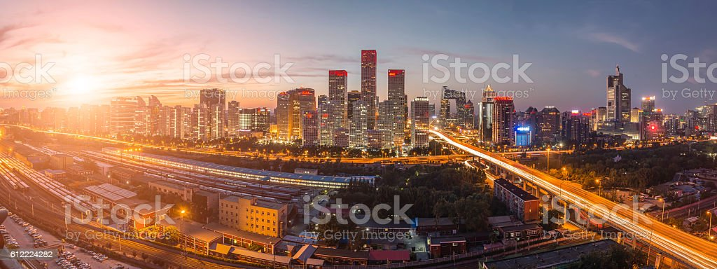 Night on Beijing Central Business district buildings skyline, China cityscape stock photo