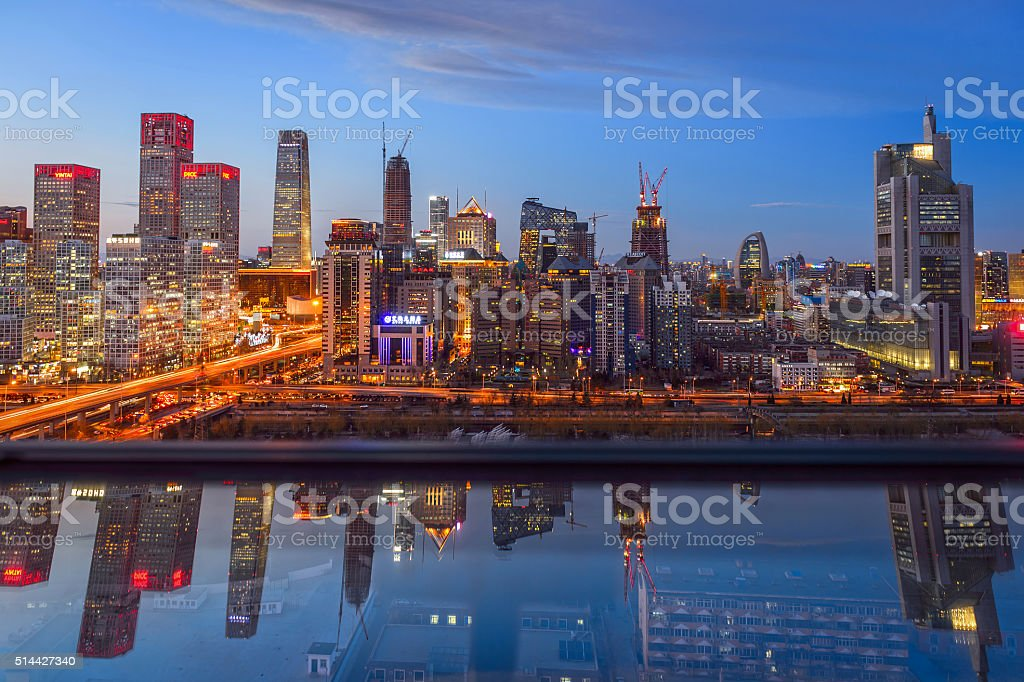 Night on Beijing Central Business district buildings skyline stock photo