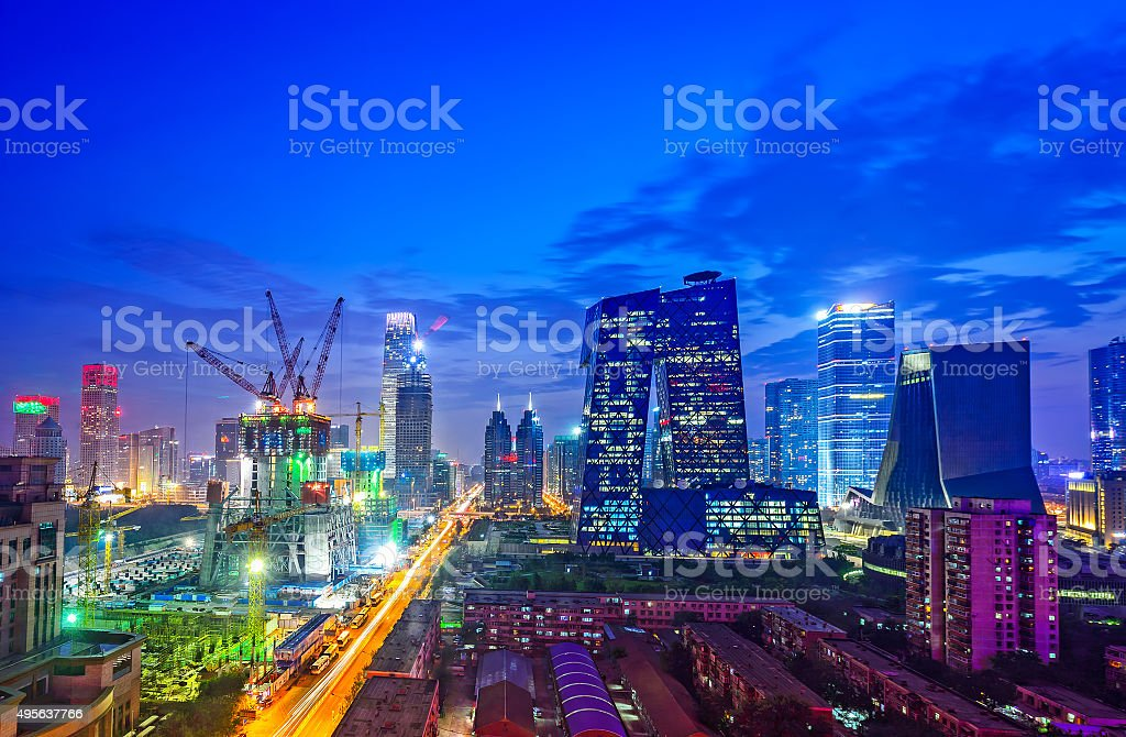 Night on Beijing Central Business district stock photo