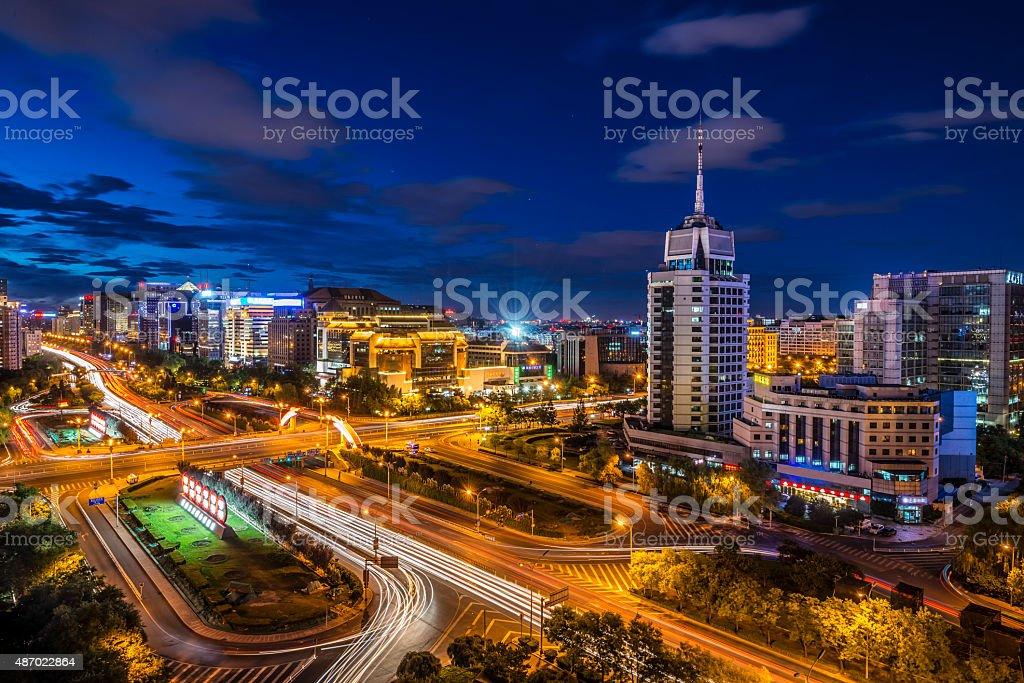 Night on Beijing, China cityscape stock photo