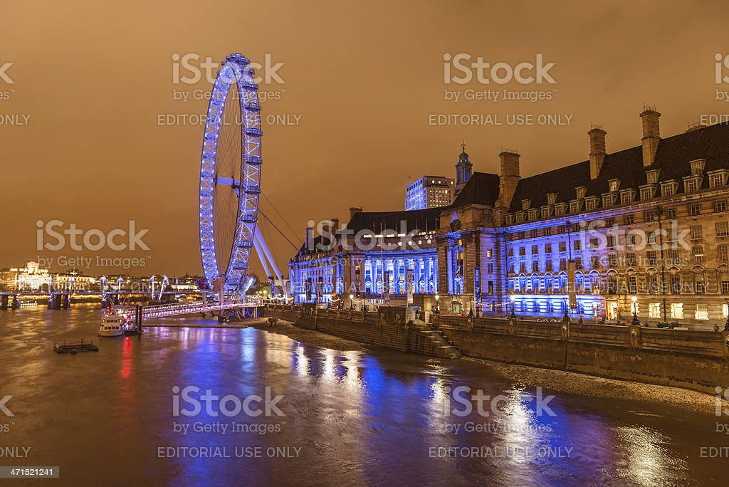 Night on London and river thames royalty-free stock photo