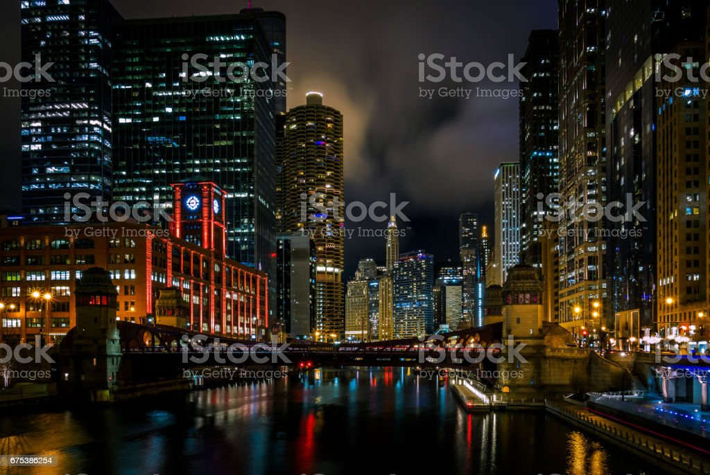 Night on the Chicago River stock photo