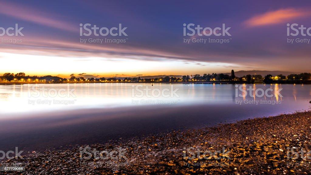 Night on the lake stock photo