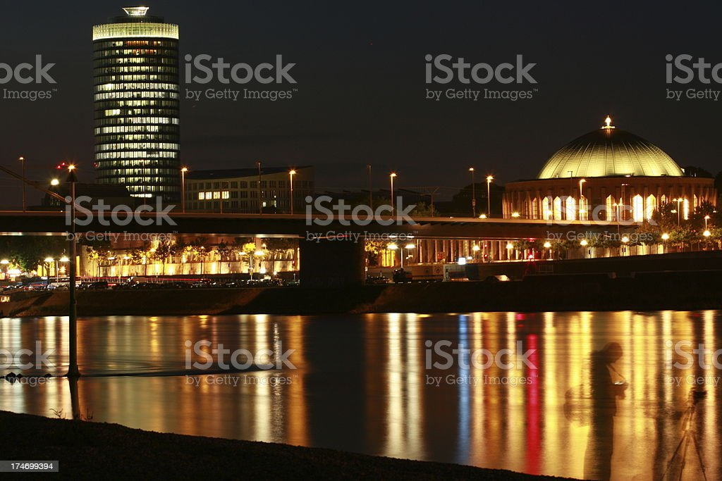 night on the Rhine river royalty-free stock photo