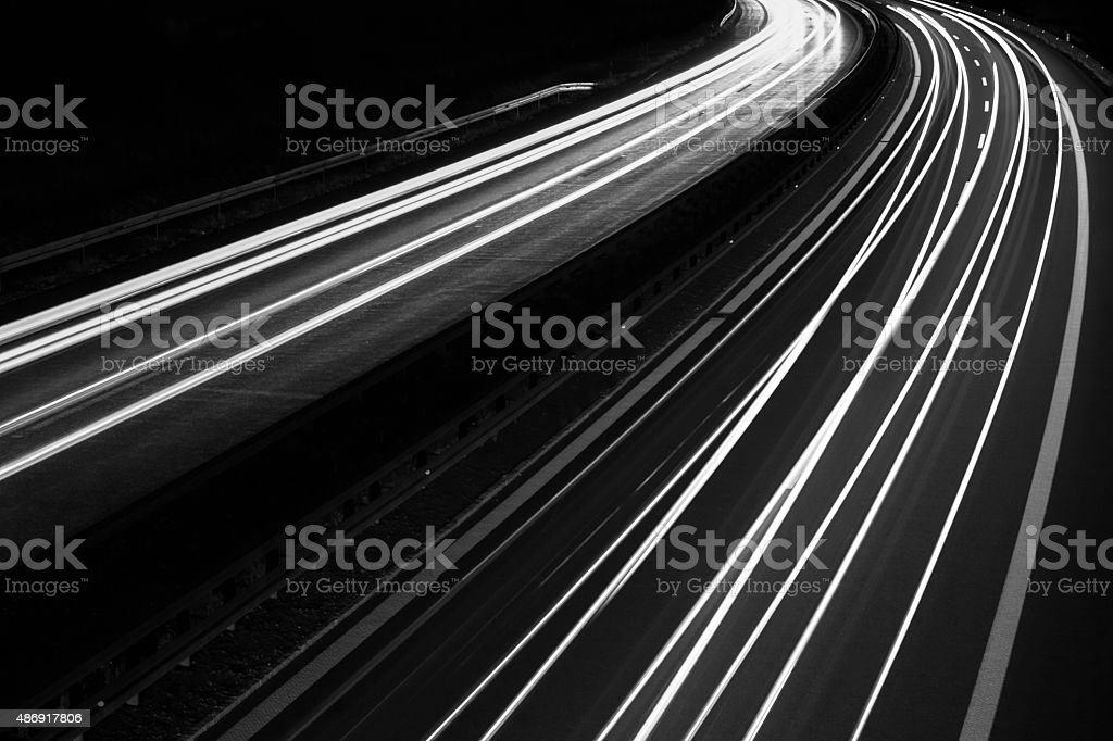 night on the road stock photo