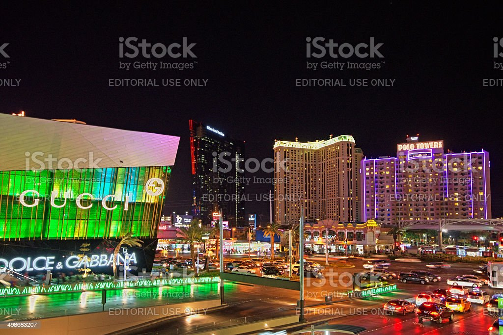 Night on the strip stock photo