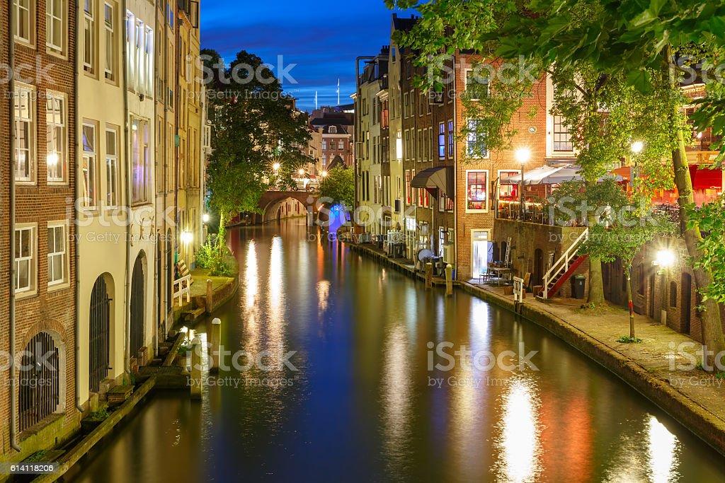 Night Oudegracht and bridge, Utrecht, Netherlands stock photo