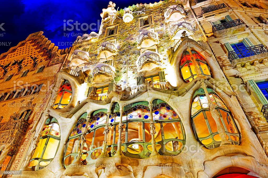 Night outdoor view  Gaudi's  creation-house Casa Batlo. stock photo