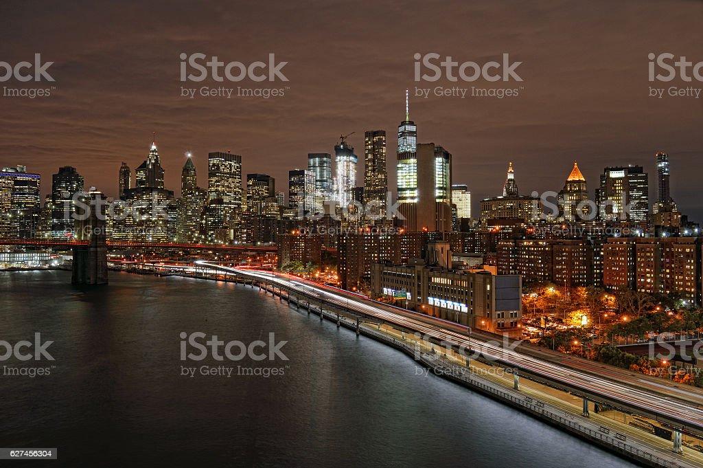 Night over a Manhattan. stock photo
