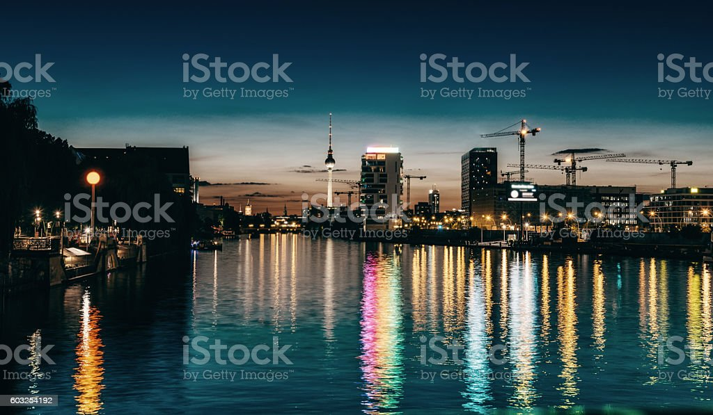 night over berlin river with view on tv-tower stock photo