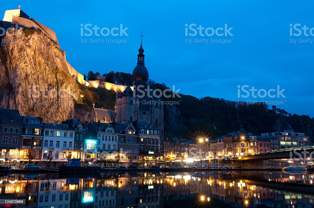 Night over Dinant stock photo
