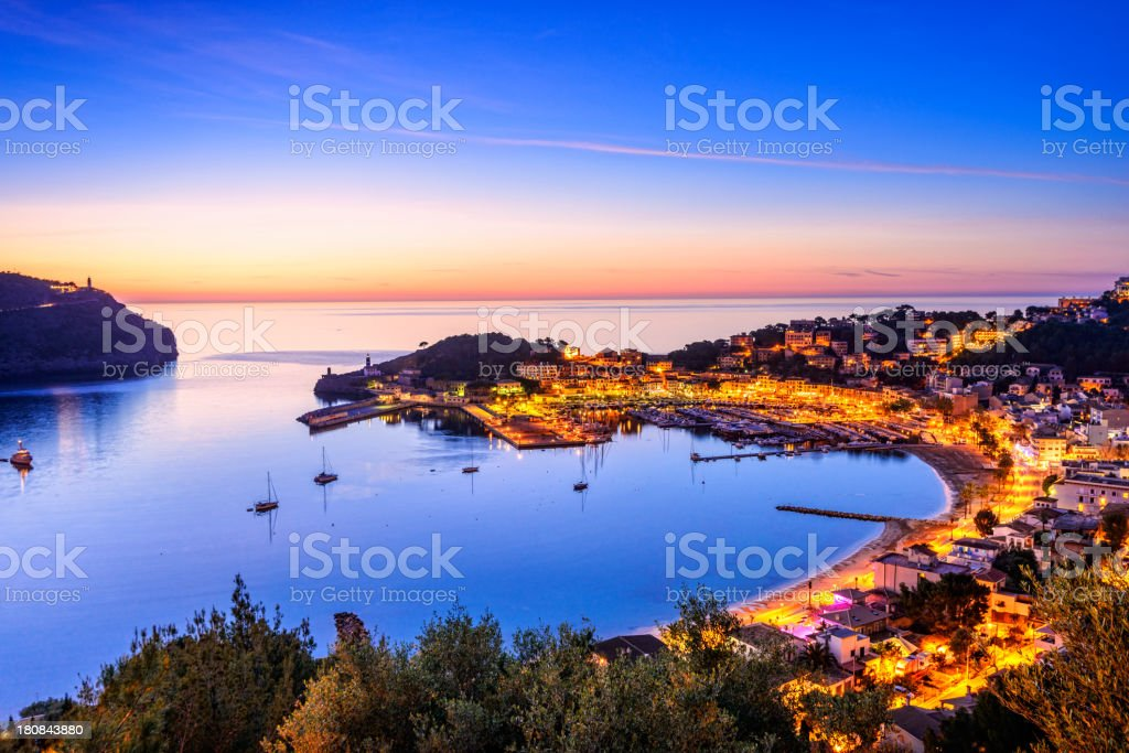 Night over Port De Soller (Mallorca) stock photo