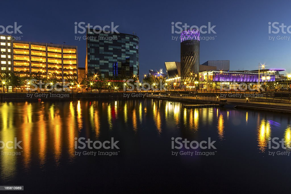 Night over Salford Quays stock photo