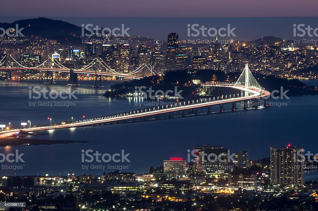Night over San Francisco, as seen from Berkeley Hills stock photo