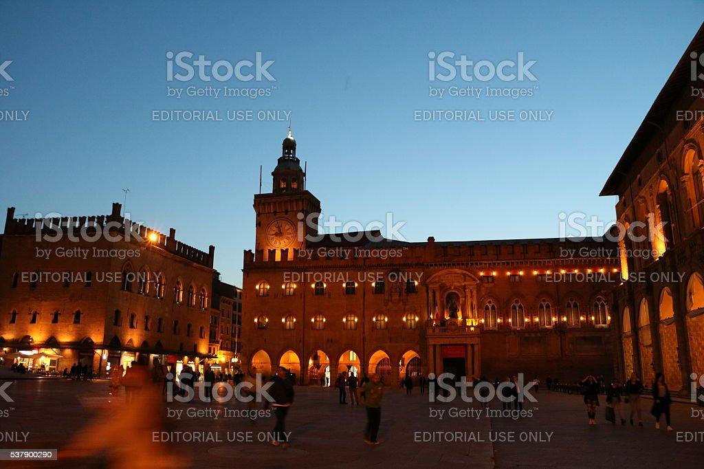 Night Palazzo del Podesta and Palazzo d'Accursio, Bologna Piazza Maggiore stock photo
