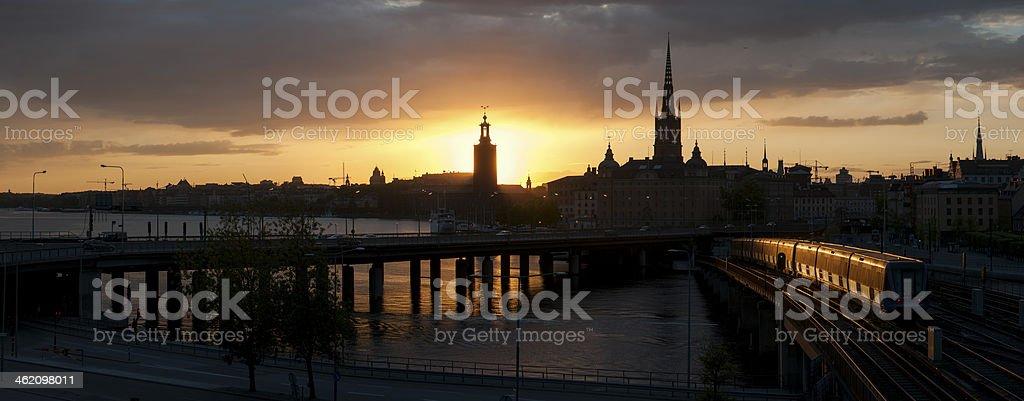 Night panorama from Stockholm stock photo