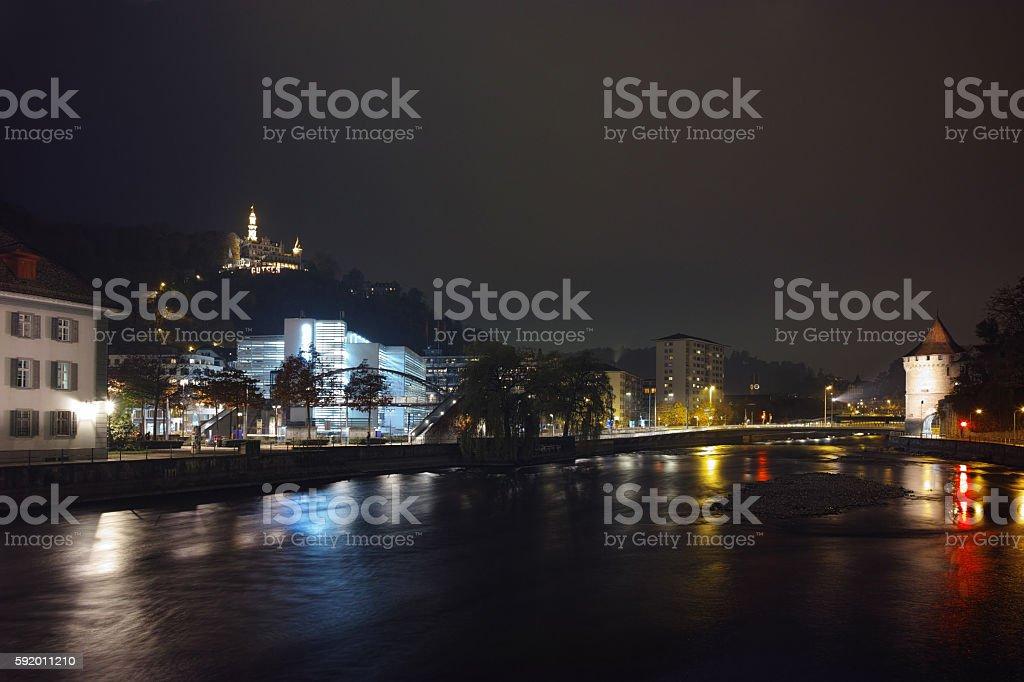Night panorama Lucern and Reuss River, Switzerland stock photo
