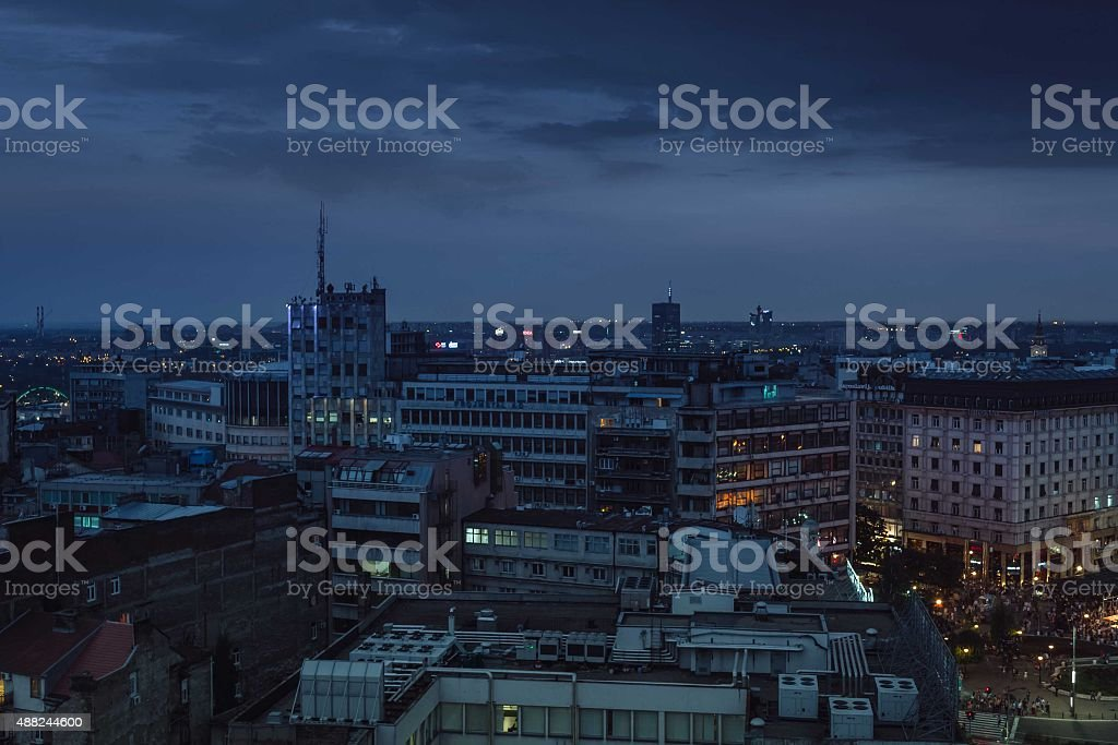 Night panorama of Belgrade royalty-free stock photo