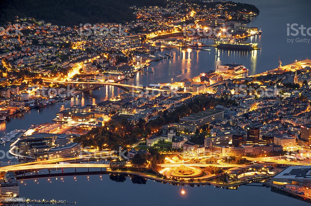 Night panorama of Bergen. stock photo