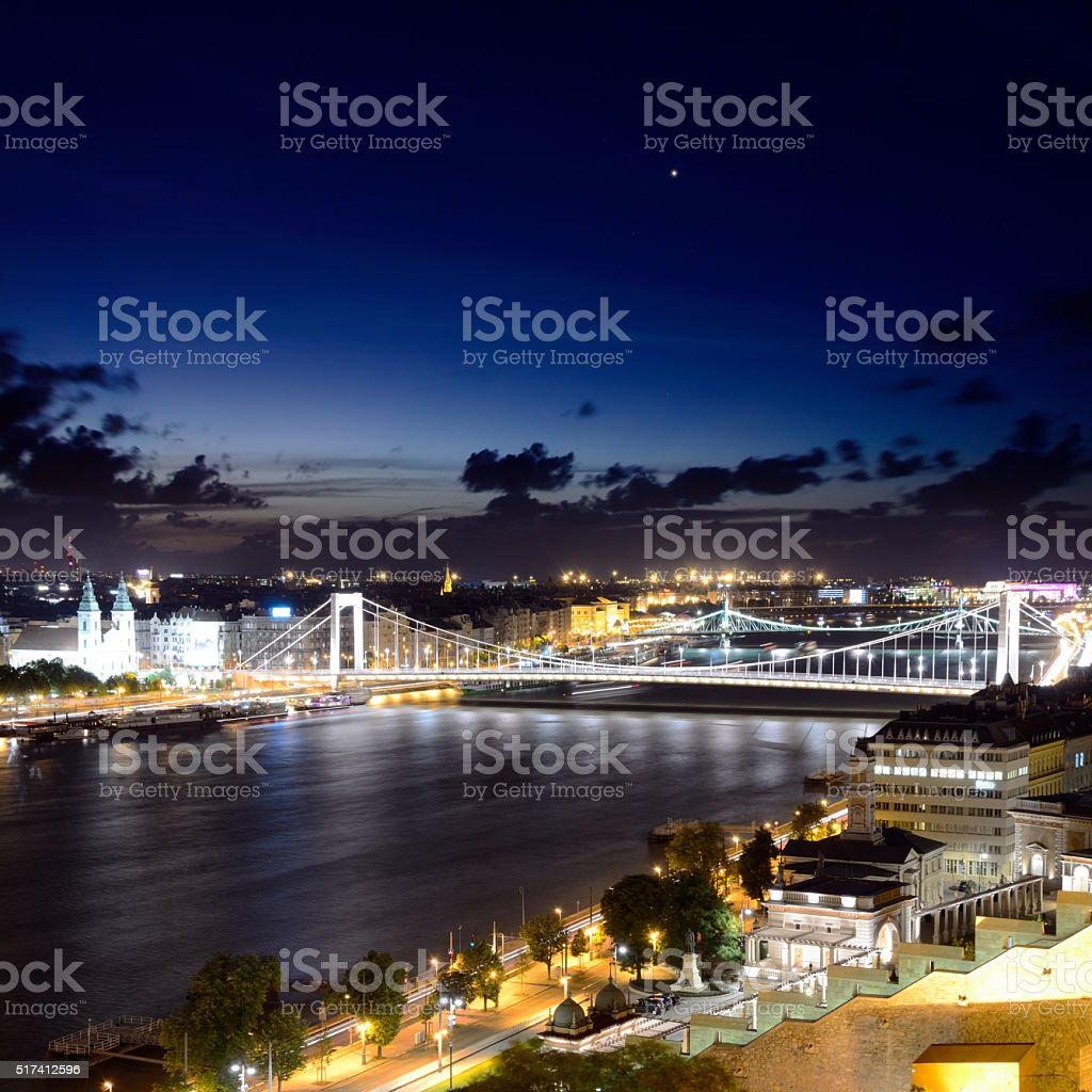 Night panorama of Budapest stock photo