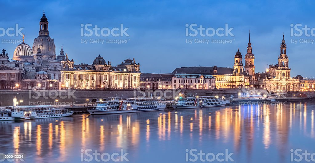 Night panorama of Dresden Old town with reflections stock photo