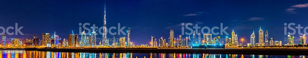 Night panorama of Dubai Downtown - the UAE stock photo