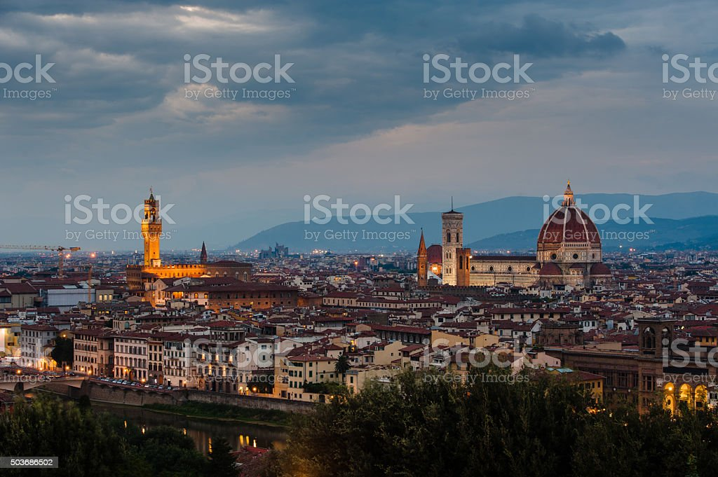 Night panorama of Florence. View ot top stock photo