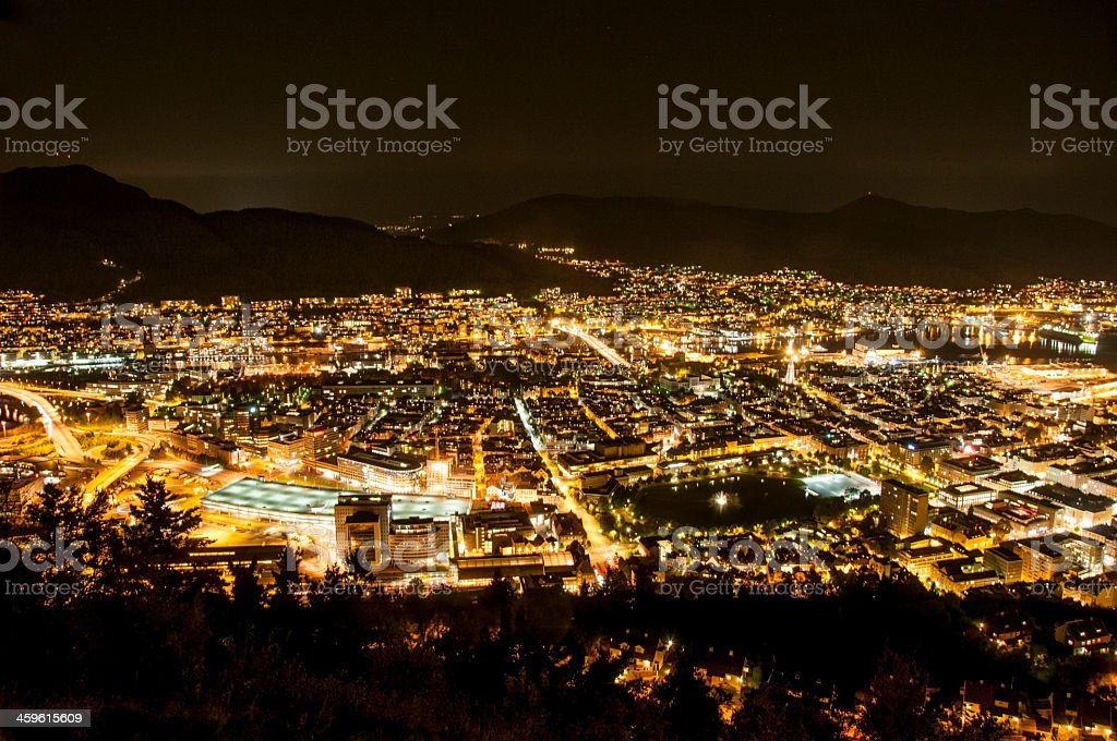 Night panorama of lit city of Bergen stock photo