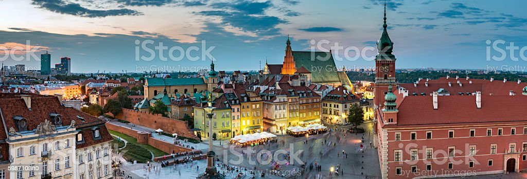 Night Panorama of  Old Town in Warsaw stock photo