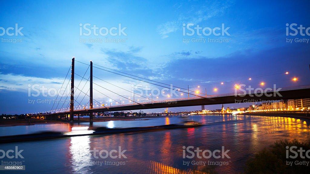 Night panorama of Rhine and Kniebr?cke in D?sseldorf stock photo
