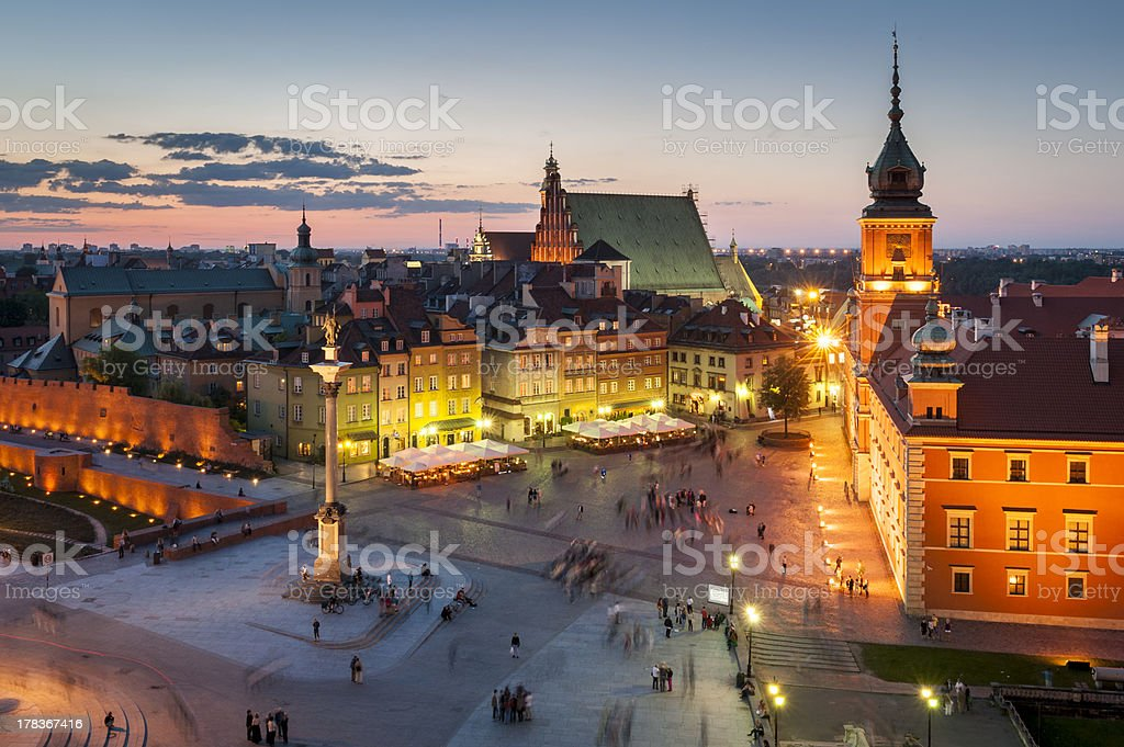 Night panorama of Royal Castle in Warsaw stock photo