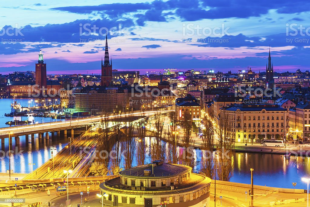 Night panorama of Stockholm, Sweden stock photo