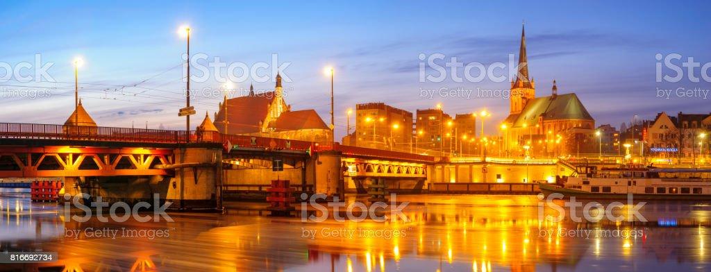 Night panorama of Szczecin stock photo
