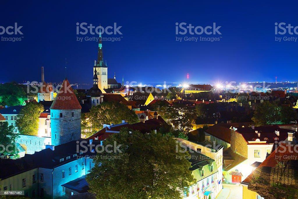 Night panorama of the Old Town in Tallinn, Estonia stock photo
