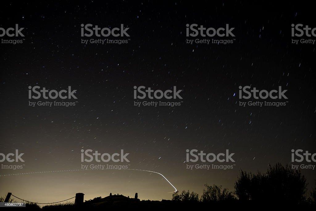 Night Panorama Sky with stars in Long Exposure stock photo