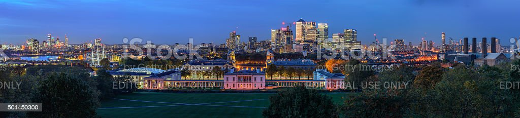 Night panoramic picture of Greenwich and Canary Wharf stock photo